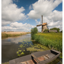Bootje bij Kinderdijkse molens