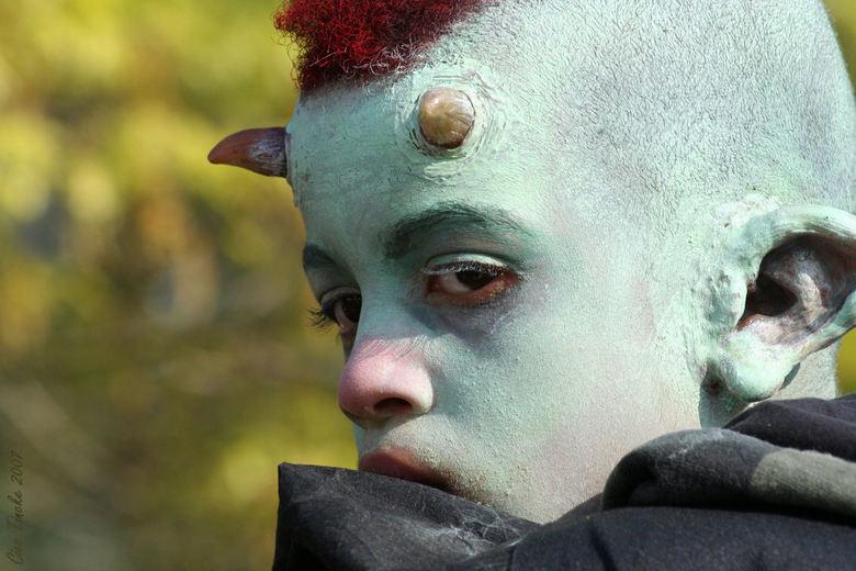 Gehoornde - Torlletje op de schouders van zijn vader, waardoor hij mooi afstak tegen de bomen op de achtergrond.