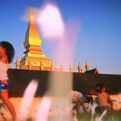 Grasspriet, kinderen en tempel