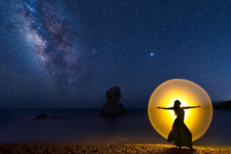 Lightpainting op het strand - Met lightpainting experimenteren op het strand in Griekenland