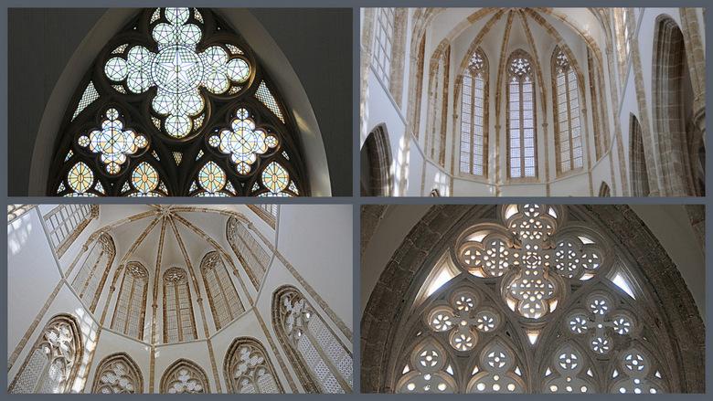 Cyprus-90. - Enige uitsnedes van de prachtige ramen<br /> van de Lla-Mustafa-Moskee.<br /> Je ziet nog de gotiche architectuur uit de <br /> tijd t