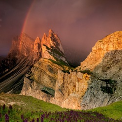 Rainbow above Seceda