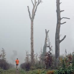 jogger in de mist