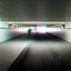 Fietstunnel CS Rotterdam in stereo anaglyph