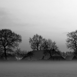Huisje Boompje Zwart Wit in Mist