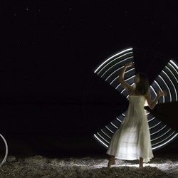 Windmill effect...lightpainting at the beach
