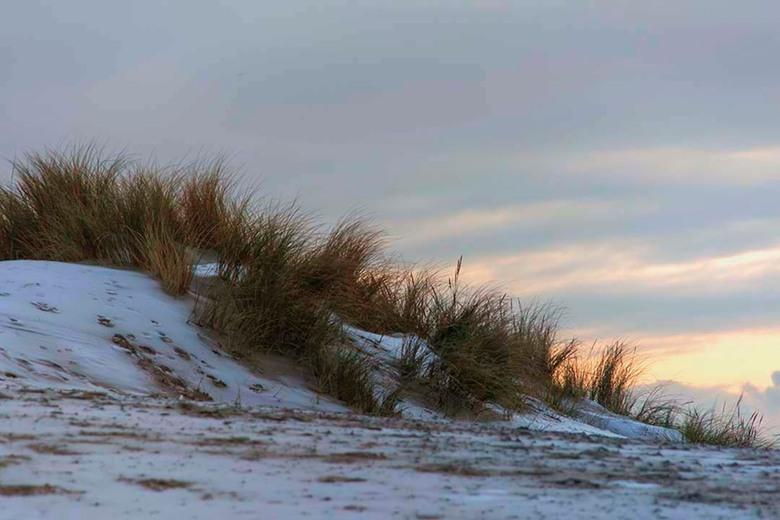Vorst op het strand - Fraaie contrasten op het strand doordat er vorst op het zand was blijven liggen.<br /> <br /> Bedankt voor de fijne reacties b