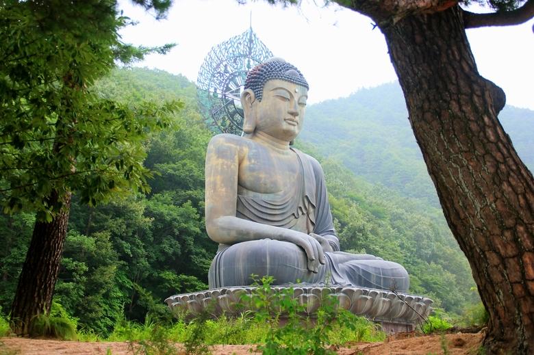 Seoraksan - In Zuid-Korea kom je op heel veel plekken in de natuur tempels tegen, waar altijd een Buddha is afgebeeld. Hier staat een grote bronzen Bu