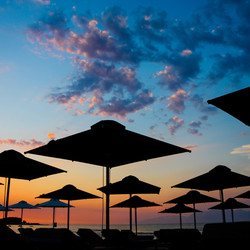 Parasols by sunset