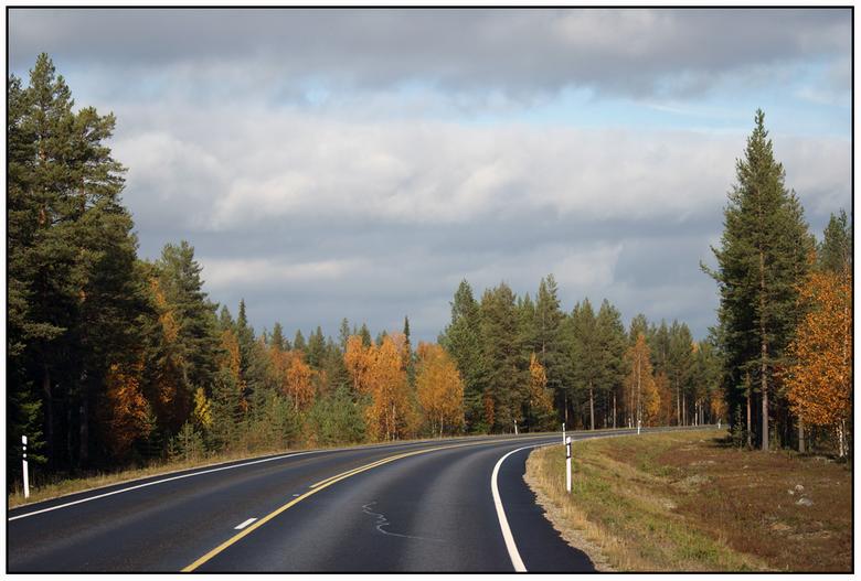 Road to Autumn - Herfstkleuren langs de weg. Locatie: Lapland, Finland. September 2010