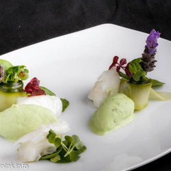 kabeljauw met Basilicum yoghurt ijs