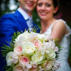 Focus op het bruidsboeket