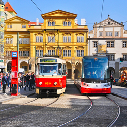 Old and new (trams in Prague city)