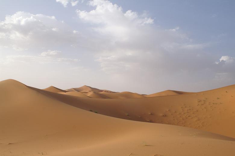De Sahara bij Erg Chebbi in Marokko - Tegen de einde van de dag. Dus gelukkig wat minder heet.
