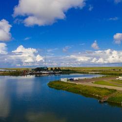 Dronefoto afsluitdijk