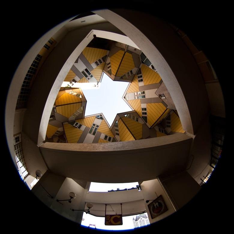 Kubus woningen - Met sigma 4.5mm fisheye lens gemaakt