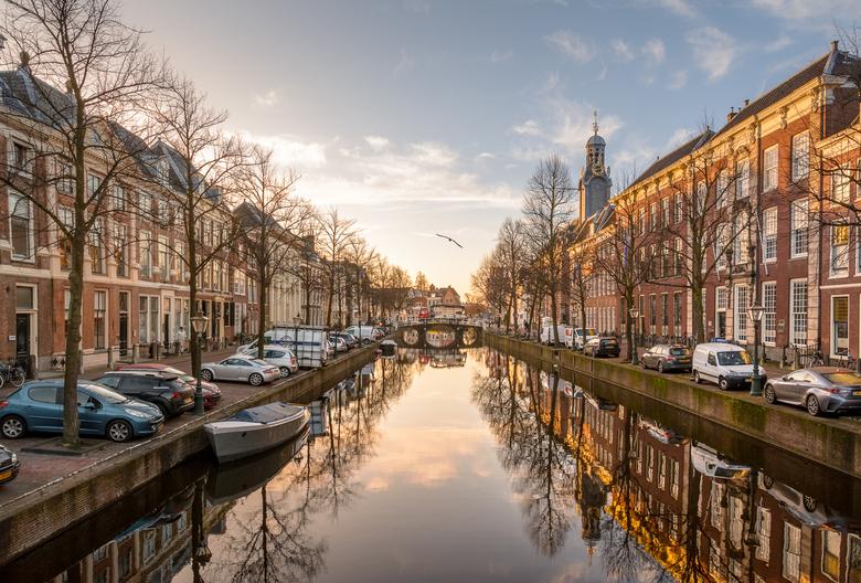 Het Rapenburg - Het winterse ochtendlicht schijnt op de gevels van het Rapenburg in Leiden. In de verte torent het oude Universiteitsgebouw boven de a