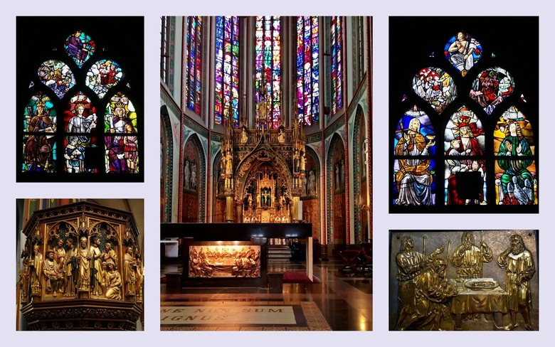 Bewerking: Het Interieur . . .  - AMSTERDAM -   . . . een stukje van het interieur van de Krijtberg.<br /> <br /> De huidige neogotische kerk is geb