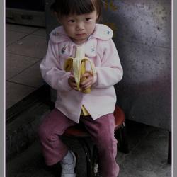 Verstopt met banaan