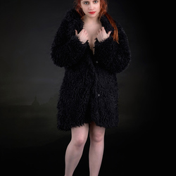 redhead in fur coat (fake)
