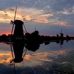 Zonsondergang Molens Kinderdijk 2014