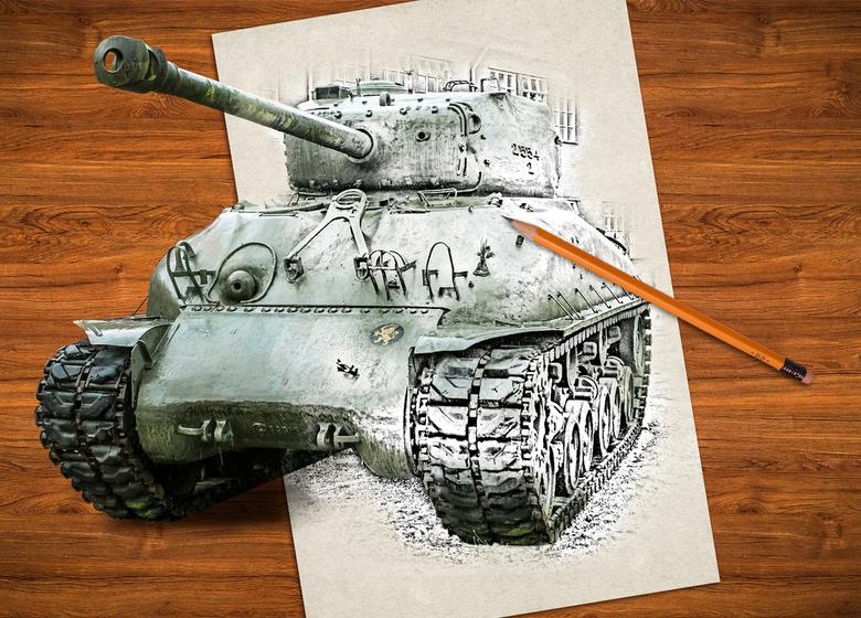 3D Tekening effect - De sherman tank maar weer eens van stal gehaald.