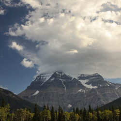 Mount Robson in the clouds