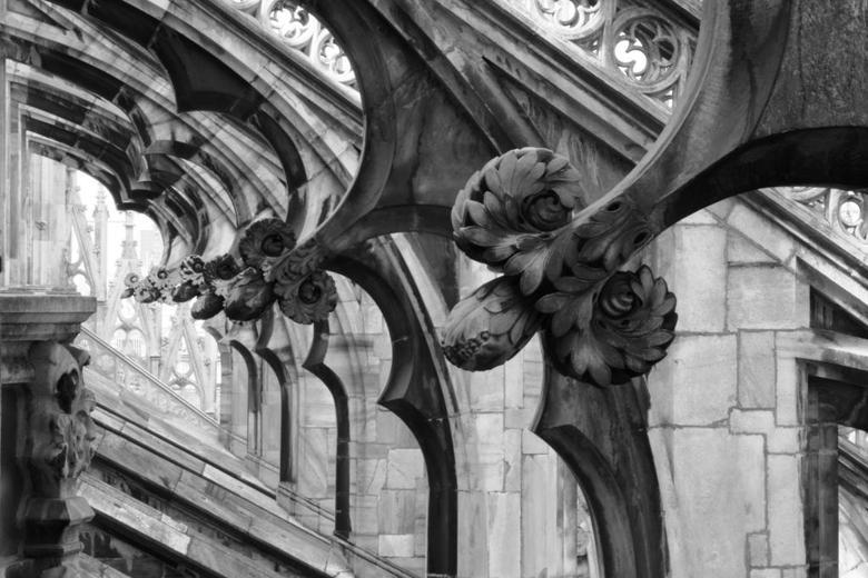 Kathedraal Milaan - Details, boven op het dak van de kathedraal in Milaan