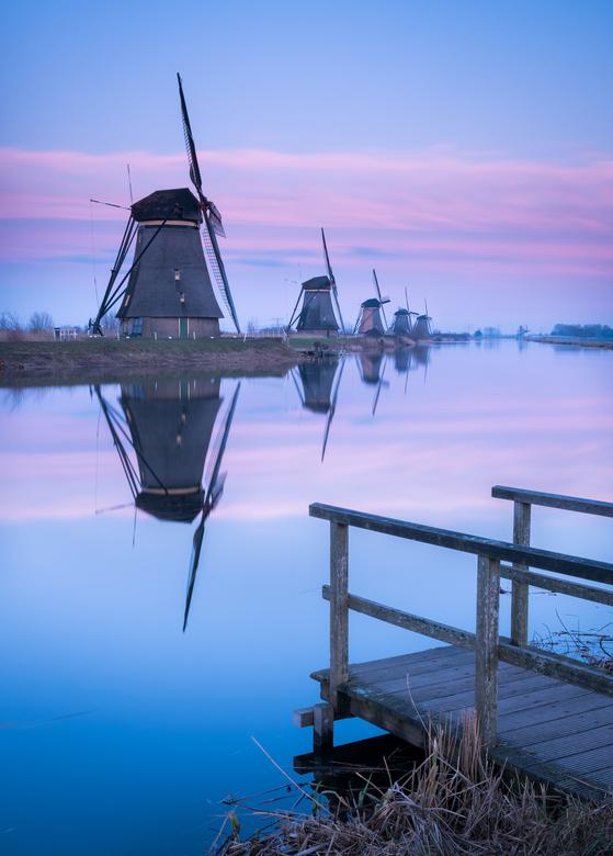 Kinderdijk - De molens bij Kinderdijk tijdens het blauwe uur.