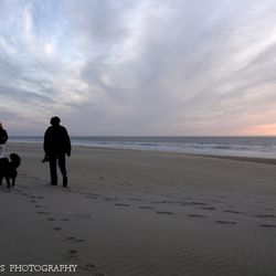 Winderig strand.