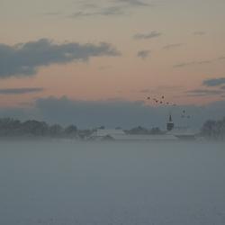 Dorp verdwenen in de mist