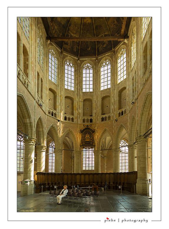 Onder de indruk... - HIerbij wederom een foto van de Sint Laurenskerk te Alkmaar. Deze mevrouw was erg onder de indruk van het geweldige plafond, late