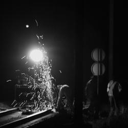 Nachtwerk aan het spoor..