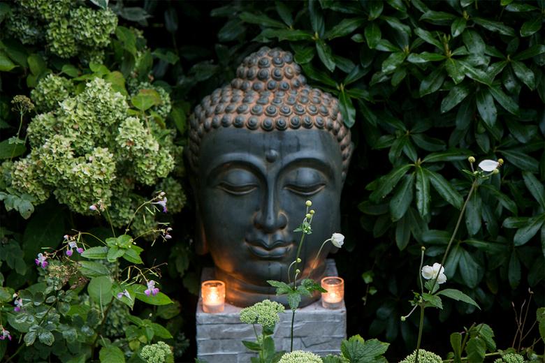 Buddha voor Hanneke. - Als eerbetoon aan mijn 3 weken geleden overleden vrouw plaatste ik deze Boeddha kop in mijn tuin.Even later begon het te regene