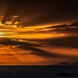 zonsondergang op het eiland Paros, Griekenland