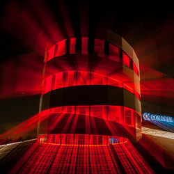 The glowing red building...