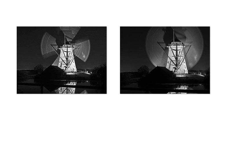 Tweemaal  Één - Bewerkte foto van de prachtige<br /> molens bij Kinderdijk die gisteren avond verlicht waren. 58 en nog nooit eerder naar één van die