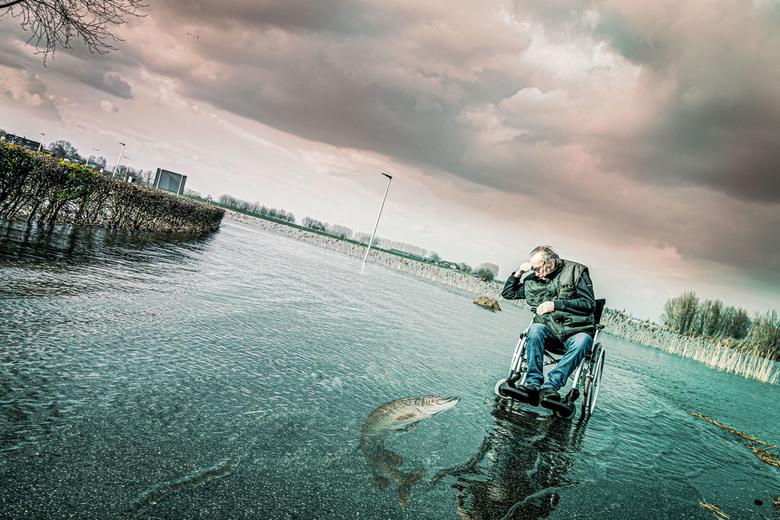 Hier Visje Visje Visje - Na een wandeling met mijn schoonvader, langs de IJssel, heb ik dit portret gemaakt .<br /> Het water staat momenteel erg hoo