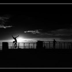 Two skateboarders.