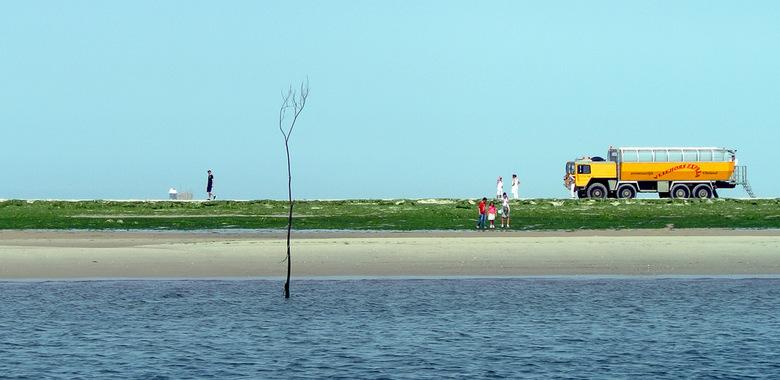 Zicht op Vlieland - Vanaf het Bootje van Sil, een zicht op Vlieland, Het strand is groen vanwege de vele algen.