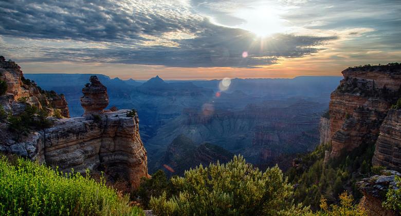 Ochtendzon - De ochtendzon die opkwam tijdens ons bezoek aan de Grand Canyon