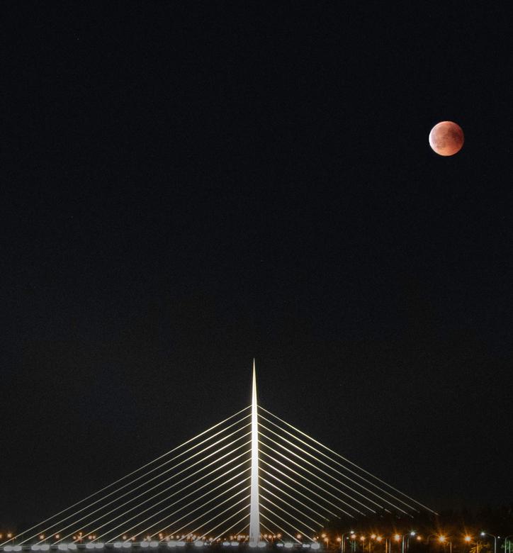 """Bloedmaan 27-07-2018 - Foto genomen tijdens de maansverduistering op 27-07-2018. Op de voorgrond is de calatravabrug  """"de luit"""" te zien. Dit"""