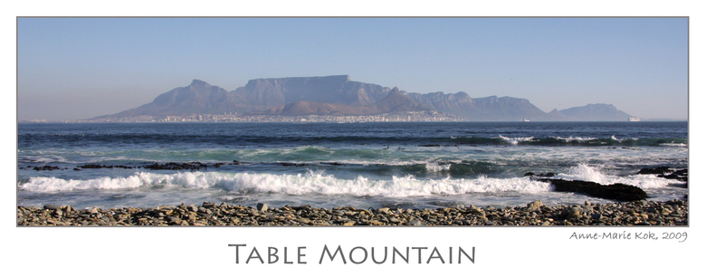 Table Mountain postcard - Deze foto heb ik genomen vanaf robbeneiland, en is wellicht één van de bekendste beelden van de Tafelberg. Maar hoewel veel