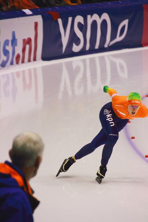 EK schaatsen 3000 m vrouwen Heerenveen - Ireen Wust tijdens haar gouden 3000 m op het EK schaatsen in Thialf Heerenveen