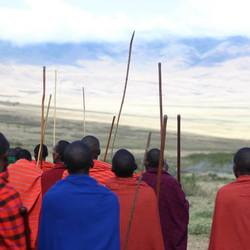 Masai people in their beautiful environment