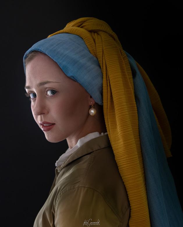 Meisje met de Parel - Vermeers schilderij 'Het meisje met de parel' nu 'Live' uitgevoerd. Model Linde Groeneveld.