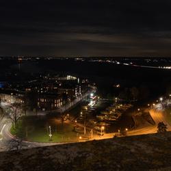 Oude haven Zupthen in de nacht
