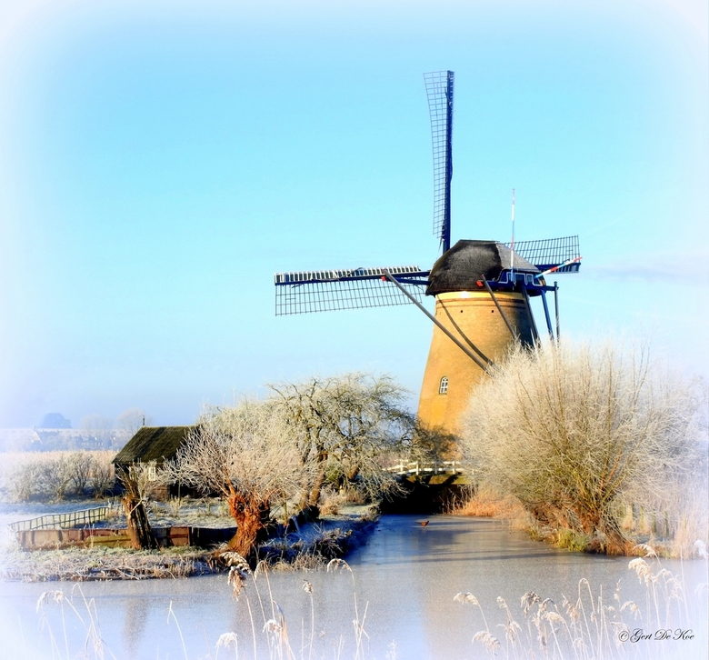 Molen Kinderdijk in de winter