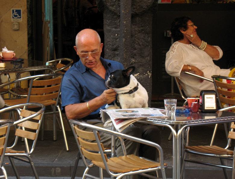 samen op terras  - Deze man gaf al zijn aandacht aan zijn hondje en kon dus makkelijk gefotografeer worden