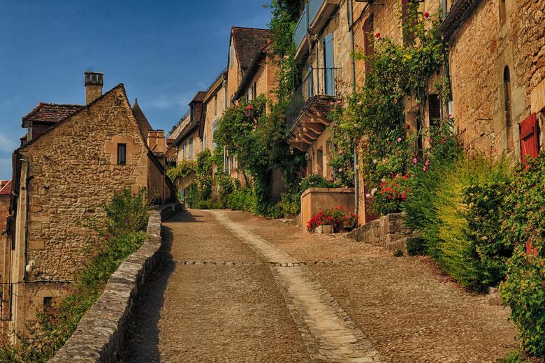 Vol in bloei in Beynac  - Een erg stijl straatje in Beynac, Dordogne. De bloemen stonden vol in bloei en het felle groen stak mooi af met de rest van